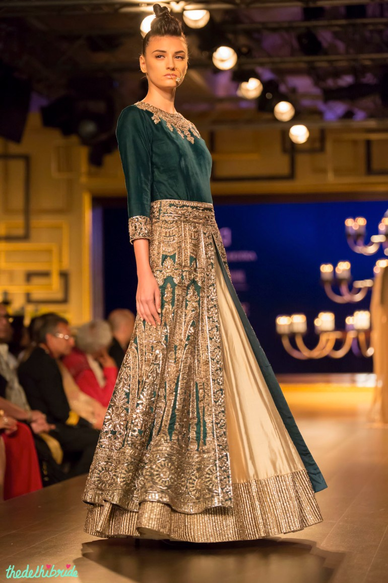 Royal green jacket lehenga side Manish Malhotra India Couture Week 2014