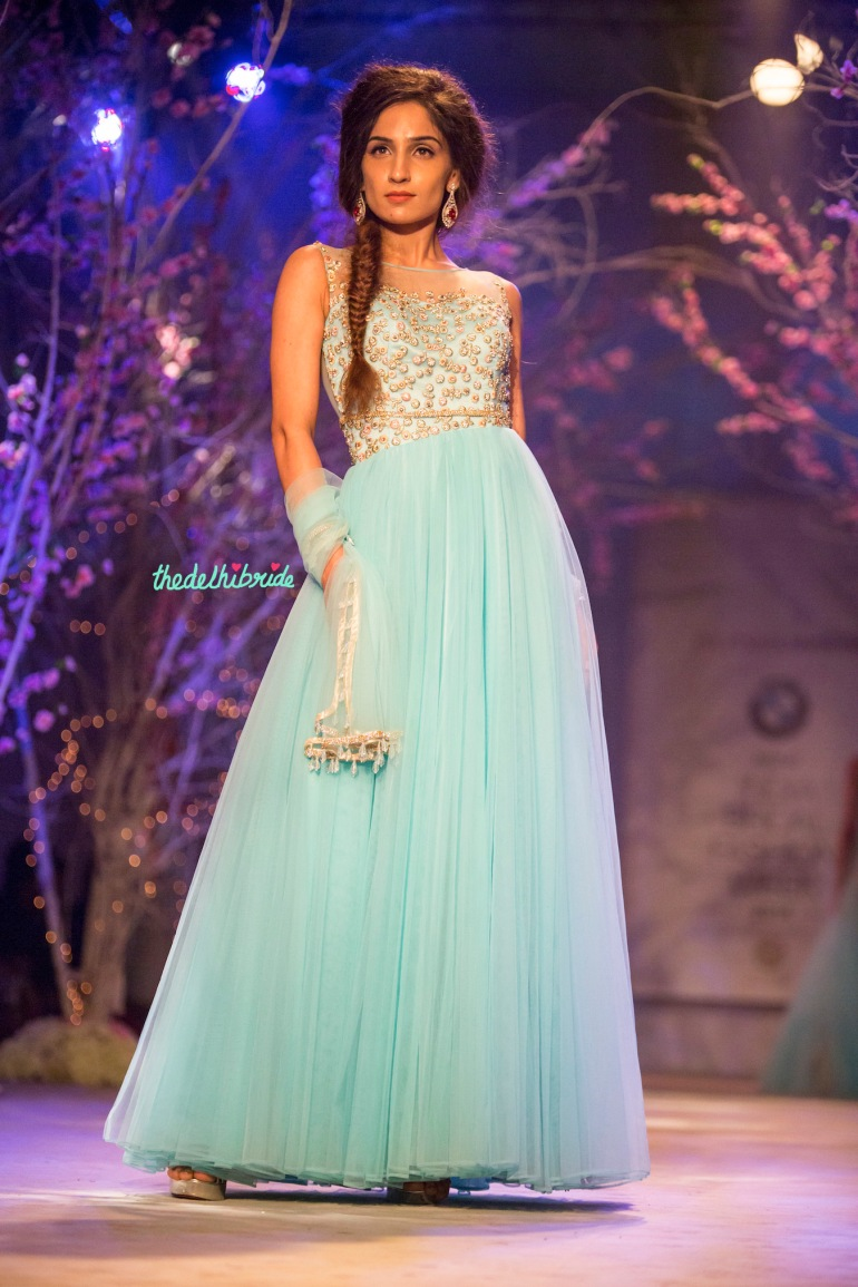 Sky blue floor length anarkali Jyotsna Tiwari India Bridal Fashion Week 2014