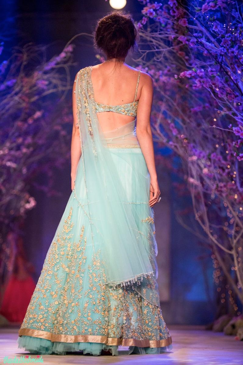 Sky blue light lehenga Jyotsna Tiwari India Bridal Fashion Week 2014