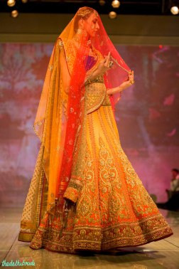 sunset yellow lehenga with ombre veil dupatta Tarun Tahiliani India Bridal Fashion Week 2014