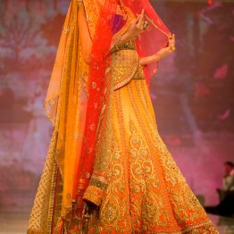 sunset yellow lehenga with ombre veil dupatta Tarun Tahiliani India Bridal Fashion Week 2014