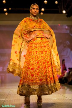 sunset yellow red threadwork lehenga Tarun Tahiliani India Bridal Fashion Week 2014