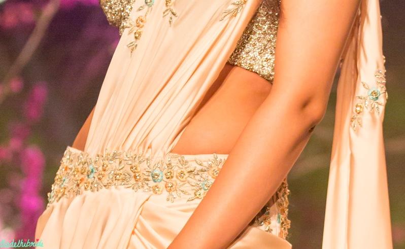Tiny floral embroidery on sari Jyotsna Tiwari India Bridal Fashion Week 2014