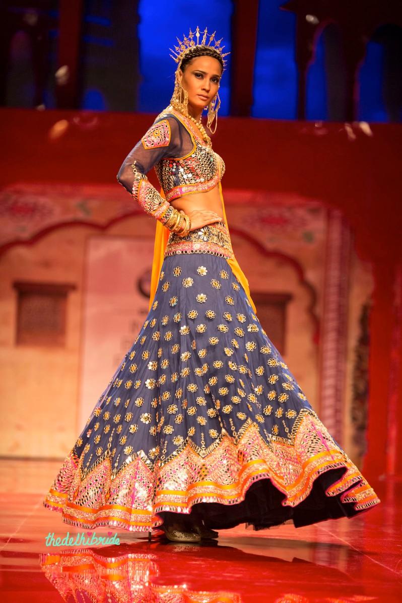 top picks blue mirror work lehenga side Suneet Varma India Bridal Fashion Week 2014