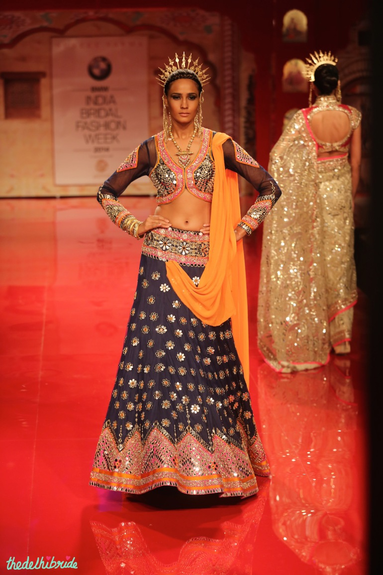 top picks blue mirror work lehenga Suneet Varma India Bridal Fashion Week 2014