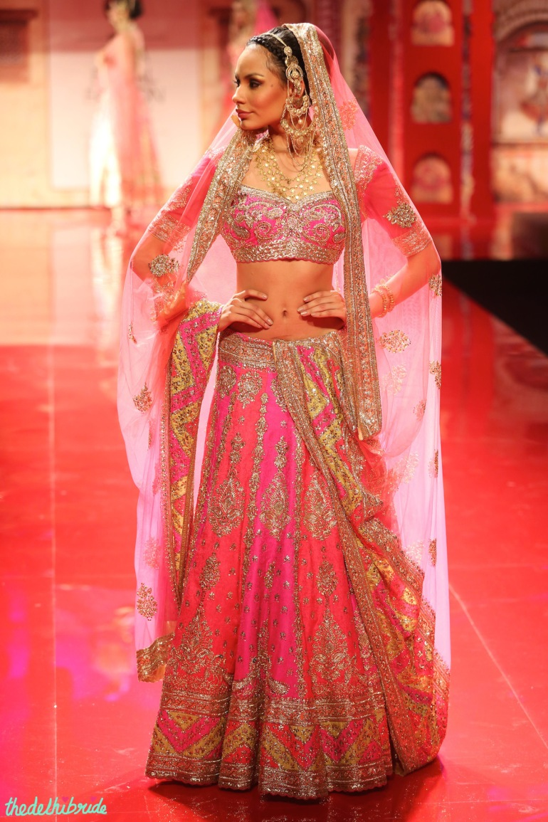 top picks pink coral lehenga Suneet Varma India Bridal Fashion Week 2014