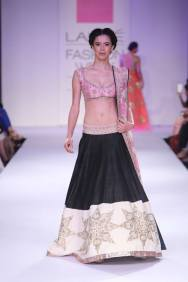 Anushree Reddy black lehenga with short pink blouse and floral dupatta