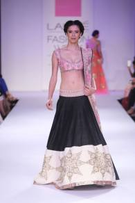 Anushree Reddy black lehenga with short pink blouse and floral dupatta