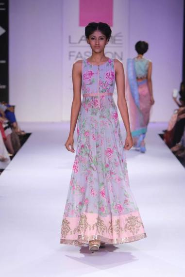 Anushree Reddy floral pale blue floor length contemporary anarkali