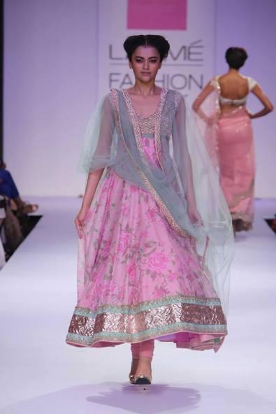 Anushree Reddy floral pink pastel blue anarkali