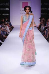 Anushree Reddy floral pink sari inchee tape border