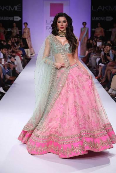 Anushree Reddy Nargis Fakhri pastel pink and sea blue floral lehenga