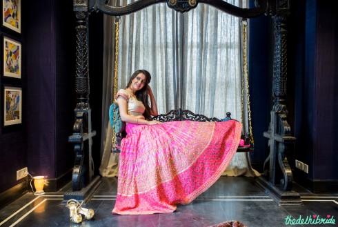 Fuschia pink bridal lehenga by Anita Dongre