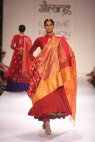 Guarang plain red flared anarkali and layered dupatta to add volume