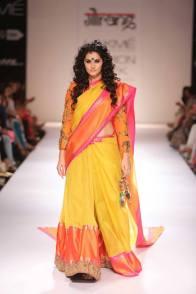 Guarang yellow sari orange blouse with animal motifs