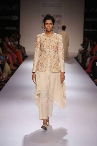 Marg by Soumitra ethnic medium length jacket over white suit