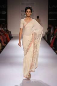 Marg by Soumitra white sari soft pink border
