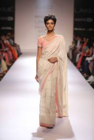 Marg by Soumitra white sari with self work, pale pink border and blouse