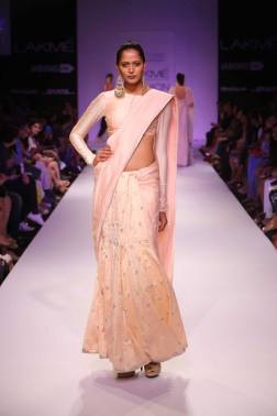 Payal Singhal blush pale pink sari monochrome
