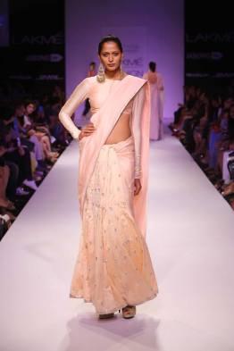 Payal Singhal blush pale pink sari monochrome