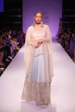 Payal Singhal pastel blue lehenga and blush blouse