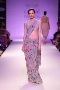 Payal Singhal print sari in pale blue