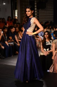 Ridhi Mehra long gown deep blue side