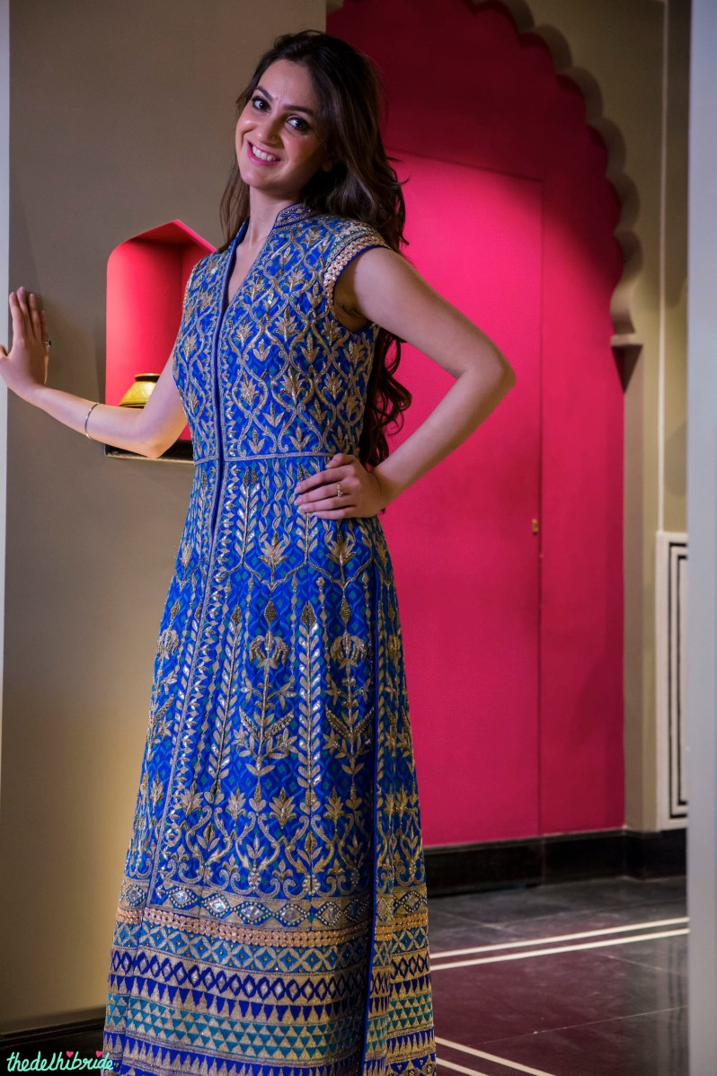 Royal blue heavy jacket by Anita Dongre