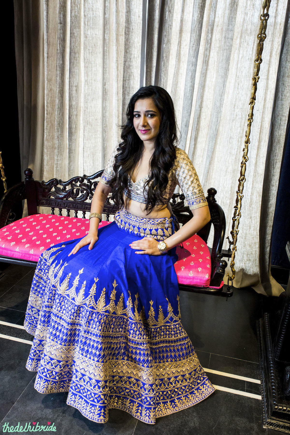 the gallery for gt royal blue and white lehenga