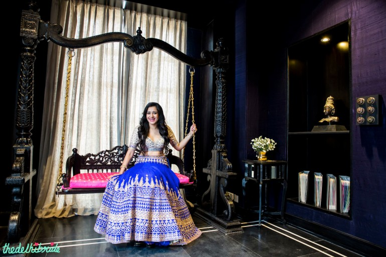 royal blue lehenga with white blouse by Anita Dongre