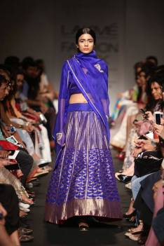 Sanjay Garg ink blue and anitque gold lehenga