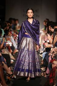 Sanjay Garg ink blue dupatta with silver grey skirt