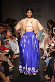 Sanjay Garg ink blue light lehenga with motifs on border