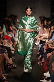 Sanjay Garg sea green silk sari