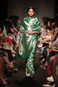 Sanjay Garg sea green silk sari