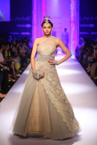 Shantanu & Nikhil beige grey gown