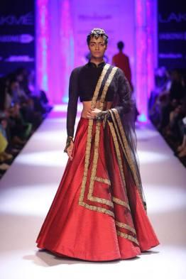 Shantanu & Nikhil red lehenga black madarin collar full sleeve blouse