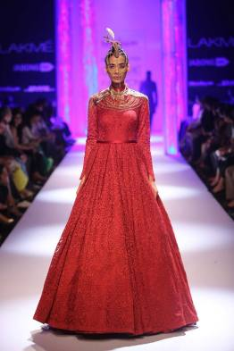 Shantanu & Nikhil red self work gown