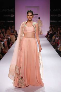 Zara Shahjahan blush pink lehenga with floral short jacket blouse