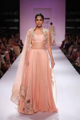 Zara Shahjahan blush pink lehenga with floral short jacket blouse