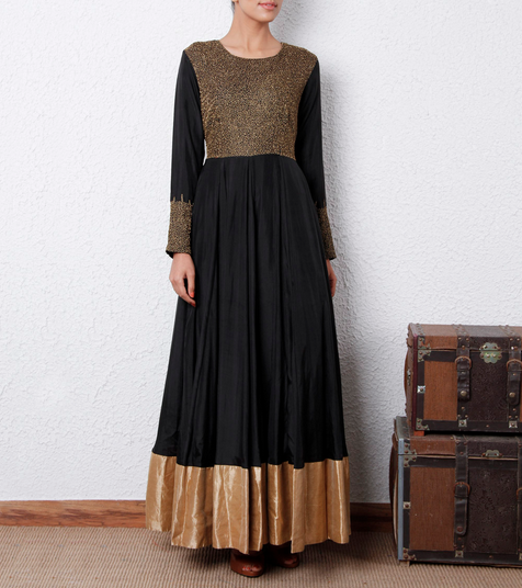 16800 Black Silk Anarkali Dress House of Tuhina