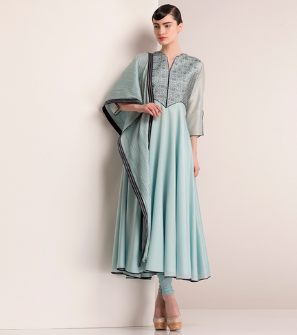 18800 Ice Blue Chanderi Silk Anarkali with Leather Sequins am:pm