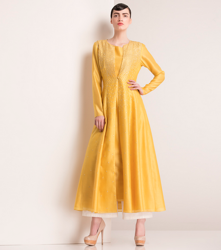 22800 Mango Yellow Chanderi Silk Achkan am:pm