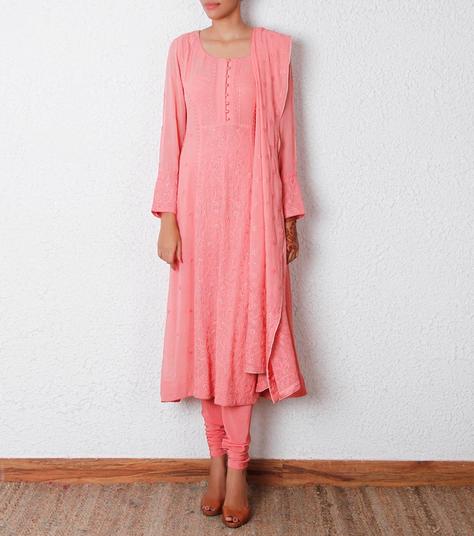 24000 Peach Lucknowi Georgette Anarkali Suit Nanny's
