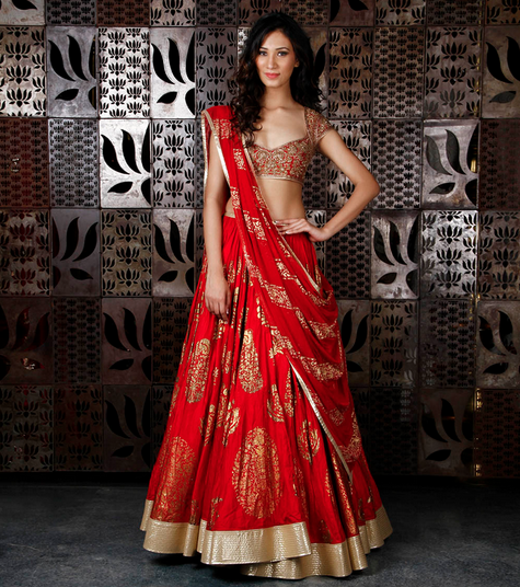 274990 Red Chanderi Silk Lehenga with Foil Print Rohit Bal