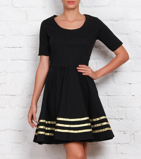 2800 Black Cotton Lycra Dress ANS
