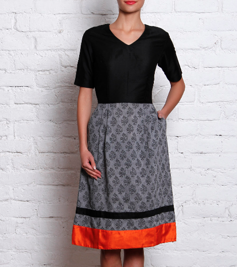 3500 Grey & Black A-Line Cotton Dress ANS