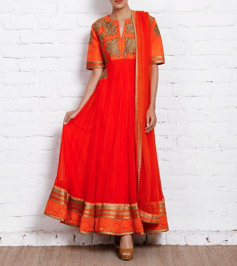 39395 Orange Embroidered Chiffon Anarkali Suit Osaa