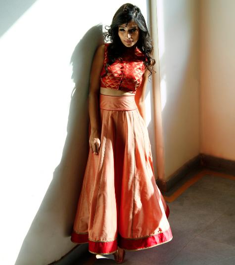 4999 Copper Cotton Silk Skirt With Maroon Chanderi Brocade Crop Top