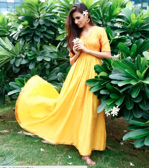 4999 Yellow Cotton Silk Gown IndianRoots